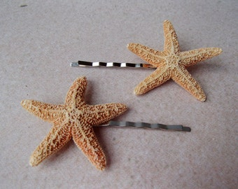 Sugar Starfish Bobby Pins (Set of 2) - Sugar Starfish Beach Wedding Alligator Hair Clip Flower girl flowergirl Barrette Pin Hairpin Mermaid