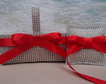 Bling Basket & Pillow - Your choice of ribbon color - Rhinestone Diamond Crystal Flowergirl Ringbearer Flower Girl Ring