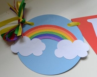 Rainbow Birthday Party Banner, Rainbow Highchair Banner, Small Rainbow banner