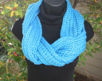 Scarf Chunky Teal Loose Knit Twisted Neckwarmer Cowl Scarf