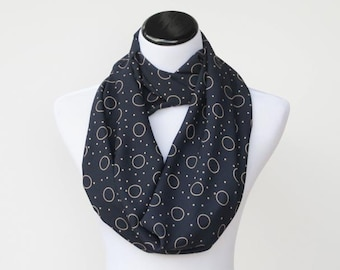 Navy blue  ivory circles dots infinity scarf soft feminine circle scarf silky moda crepe polka dot scarf - gift for her