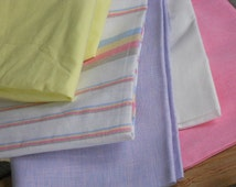 Fat quarters linen fabric remnants natural linen white pale yellow lilac pink white plain striped for baby bedding child clothing
