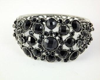 Black Metal Cuff Bracelet, Rhinestones Beaded Bracelet,Cuff Bracelet Bracelet Metal and Plastic