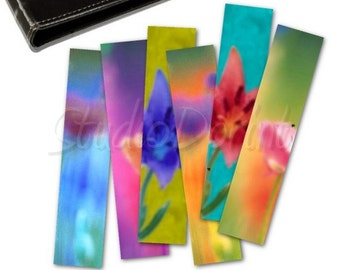 Floral Bookmarks, Set of 6 printable bookmarks, Back to school, Rainbow colors DIY craft projects for instant download