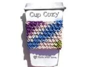 Crochet Coffee Cozy,  Purple Blue White & Lime, Travel Mug Sleeve, Cup Cozy, Can Koozie, Bottle Cozy,  Eco Friendly, Reusable, Teachers Gift