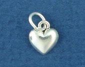 HEART Charm .925 Sterling Silver, MINIATURE Small