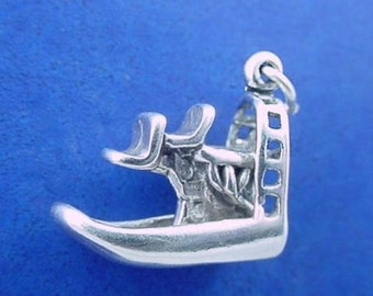 AIRBOAT Charm .925 Sterling Silver, Florida Everglades Air Boat Pendant - lp3633