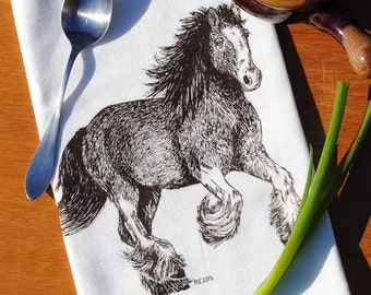 Cloth Tea Towel - Brown Clydesdale Horse Towel - Screen Printed Cotton - Flour Sack Material - Perfect Towel for Dishes - Cute Gift
