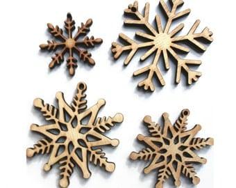 Rustic Wood Snowflake Ornaments, Laser Cut Set