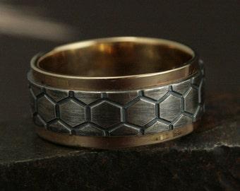 Men's Two Tone Ring-Genus Apis Ring-Men's Wedding Band-Honeycomb Ring-Wide Mens Band-Bee Hive Ring-DNA Ring-Helix Band-Bee Ring-Beehive Ring