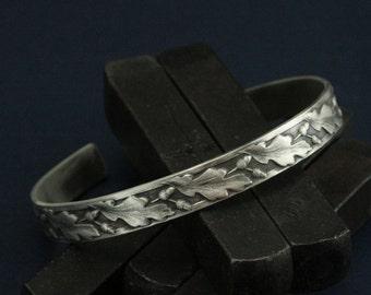 Oaken Leaf Cuff Bracelet - Sterling Silver Cuff Bracelet - Acorn Patterned Cuff - Woodland Cuff - Nature Inspired Cuff Bracelet - Oak Tree