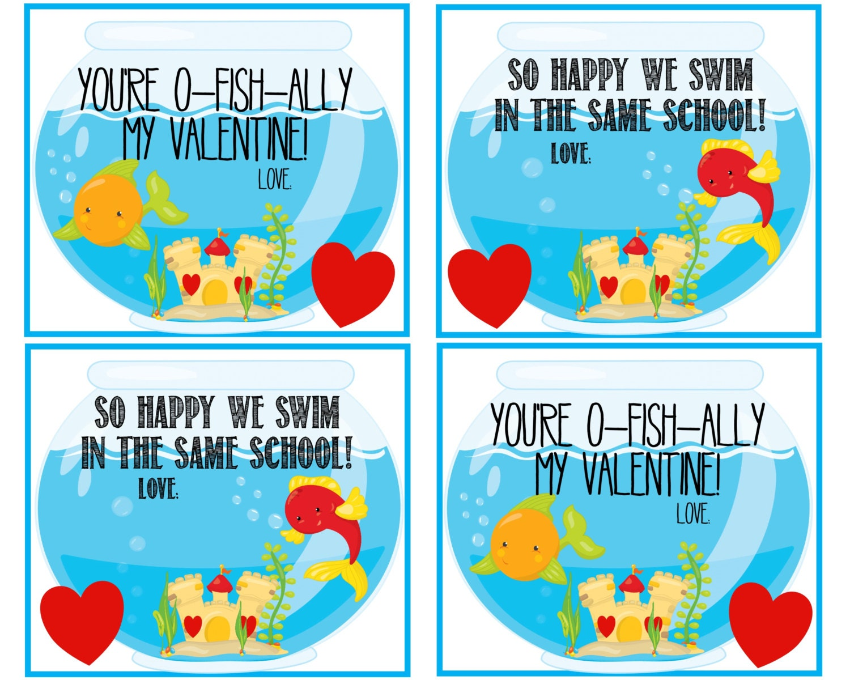 Printable kids valentine you 39 re o fish ally my valentine for Happy fish swim school