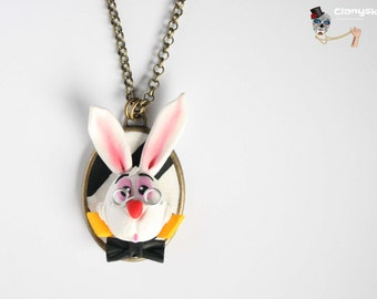 Cameo Necklace Rabbit Alice in Wonderland.
