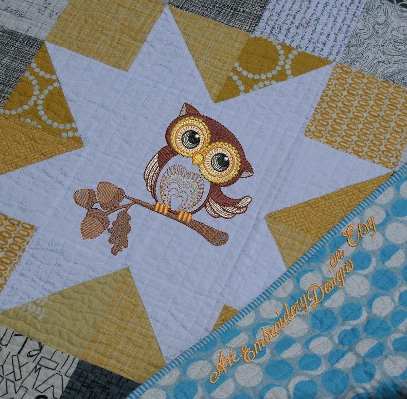 Autumn owl machine embroidery designs set of series