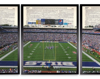 Buffalo Bills Ralph Wilson Stadium 3 Piece Set Dictionary Art Print Repurposed Book Print On Recycled Dictionary Page