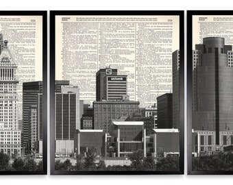 Cincinnati Skyline 3 Piece Set Upcycled Dictionary Art Print Repurposed Book Print On Recycled Antique Dictionary Page