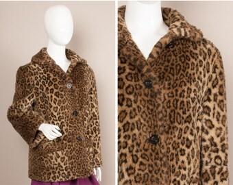 LEOPARD Print 60s 70s GLAM Gangsters Moll Faux Fur Coat UK 12