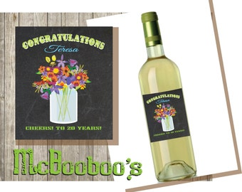 Chalkboard Mason Jar with Wildflowers Wine Label House warming, Congratulations