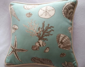 Sea Green, Cream, Brown, Seashell Print. 16 x 16 Pillow Cover. Beach. Brown Backing. Decorator Pillow. Handmade. Cording and zipper closure.