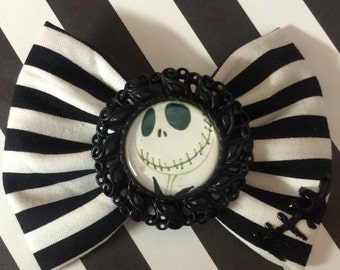 Jack skeleton hair bow