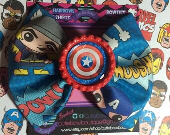 captain america hair bows / marvel hair bows / super heros