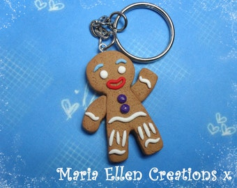 Gingy gingerbread man keychain, gingerbread man charm - fake food - shrek inspired - gingy keychain - christmas charm, shrek part, costume