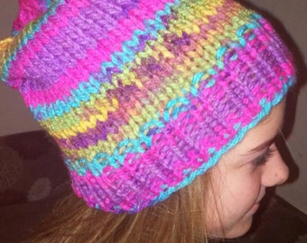 Pretty variegated and bright beanie hand knit