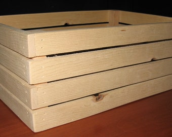 Pine Crate Box - Unfinished, Wood Storage Box