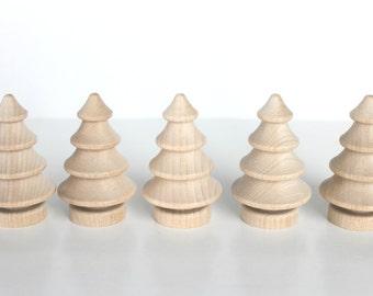 "6 Wood Christmas Trees | 2-3/4"" Dimensional Tree | Set of 6"