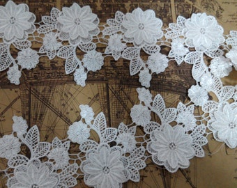 3D white lace trim for DIY sewing,wedding lace trim