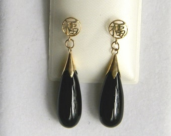 14K Solid Gold & Black Onyx Drop Dangle Earrings