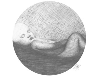 Baby - Print from original drawing in graphite pencil