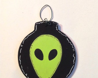 Personalized Wooden Alien Outer Space Neon Winter Tree Ornament - Your Name - Christmas Holiday - Hand Painted Wood