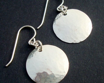 Small Hammered Disc Earrings in Sterling Silver