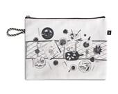 Zipper Pouch, Clutch bag, Silkscreen printed pouch, Zippered clutch, Clutch purse, Big pouch with table illustration