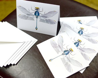 Green Dragonfly Robotic Insect Blank Card