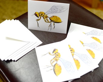 Golden Wasp Robotic Insect Blank Card