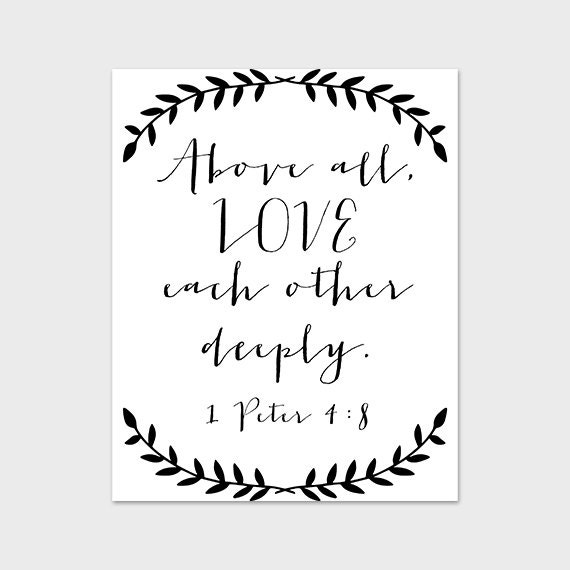 Love Each Other Bible: 8x10 PRINTABLE Art Print Love Wall Art By PaperCanoePrintables