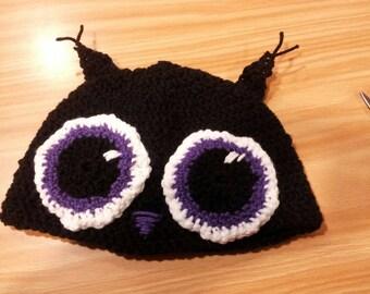Crochet owl hat purple black