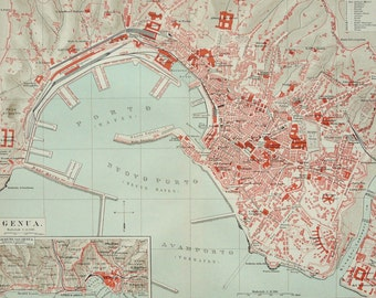 1897 Antique city map of GENOA, ITALY. Genova. 119 years old chart.