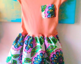 Baby girl bohemian cotton dress// short sleeves / Amy Butler Lark Glamour Charisma Blush