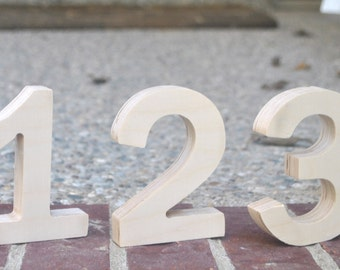 Wood table numbers, 4 inches tall , Wedding Table Numbers, Wooden Table Numbers