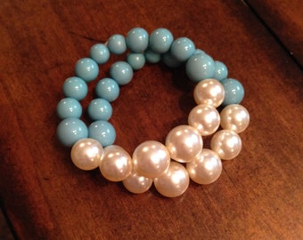 Turquoise and pearl stack bracelets