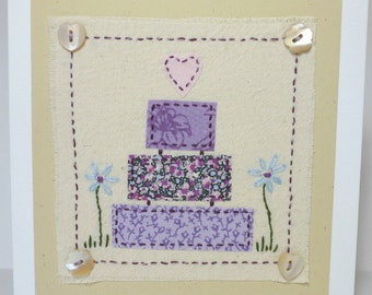 Embroidered Wedding Cake fabric Card with buttons and vintage and recycled fabrics including Liberty Tana Lawn