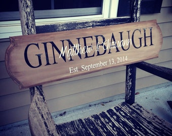Last name and wedding/anniversary date wood sign