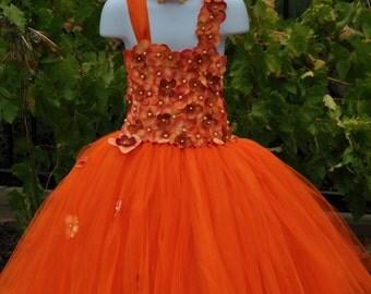 Orange Dress, Special Occasion Dress, Orange Flower Girl Dress, Fall Flower Girl Dress,Toddler Tutu Dress