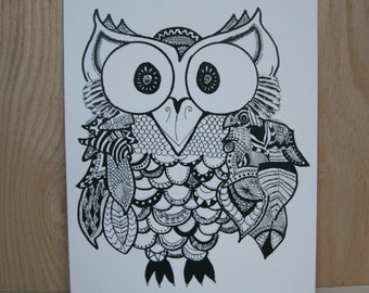 "Owl art print - ""Herbert"""