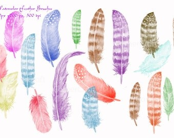 Photoshop brushes - Watercolor Feathers ABR Instant Download