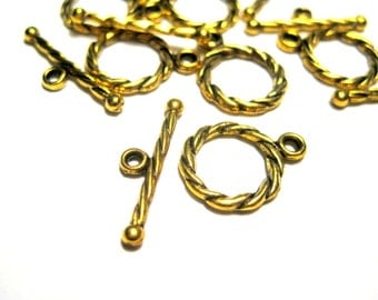 10 Sets Antique Gold  Plated Toggle Clasps Jewelry findings