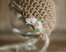 Newborn Hat+Headband, Baby Girl Knitted Bonnet, Photo Prop, Vintage Hat, Baby Girl Hat, Violet